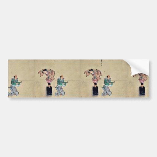 Juego de Kyōgen con dos caracteres Ukiyo-e. Etiqueta De Parachoque