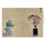 Juego de Kyōgen con dos caracteres Ukiyo-e. Felicitaciones