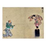 Juego de Kyōgen con dos caracteres Ukiyo-e. Postales