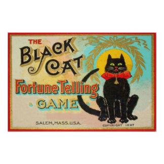 Juego de la adivinación del gato negro cojinete
