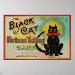 Juego de la adivinación del gato negro póster