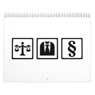 Juego de la escala del abogado calendario de pared