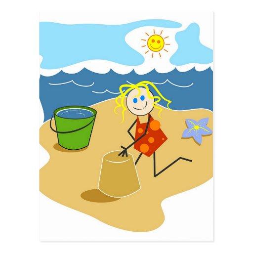 Juego de la playa postal