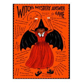 Juego de la respuesta del misterio de la bruja del postal
