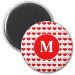 Juego de la tarjeta de los corazones con el monogr imanes de nevera