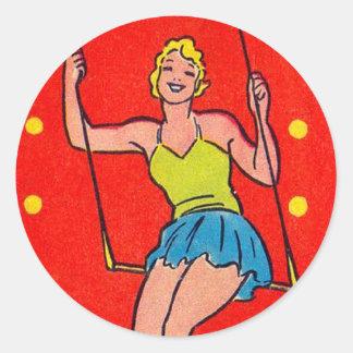 Juego de la tarjeta del kitsch del vintage de pegatina redonda