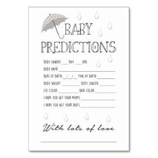 Juego de las predicciones del bebé para la fiesta
