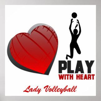 Juego de los chicas con el poster del voleibol del