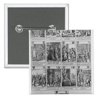 Juego de los corazones que ilustran el 'Plot papal Pin Cuadrada 5 Cm