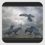 Juego de los cuervos con tiempo perdido pegatina cuadrada