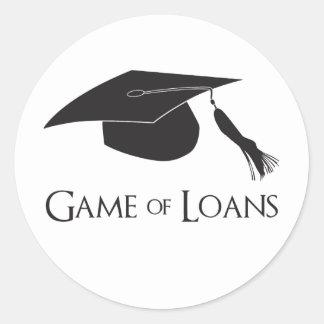 Juego de los préstamos de la graduación de la pegatina redonda
