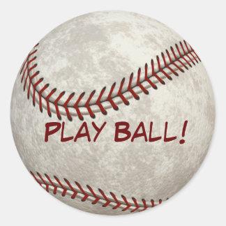 "Juego de pelota ""bola del béisbol del juego!"" Más Pegatina Redonda"