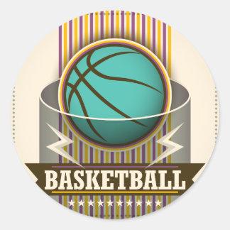 Juego de pelota del deporte del baloncesto fresco pegatina redonda