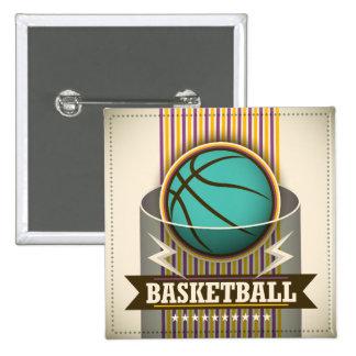 Juego de pelota del deporte del baloncesto fresco pin cuadrado