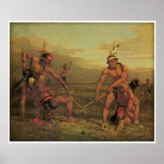 Juego de pelota indio de Charles Deas 1843 Póster