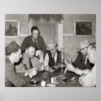 Juego de póker, 1939. Foto del vintage Póster
