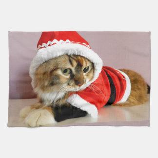 Juego de Santa del gato del gatito de las Felices  Toallas De Mano