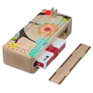Juego de tarjeta de madera de la caja de cribbage de arce