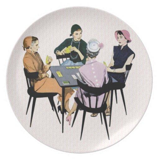 Juego de tarjeta retro de los años 50 plato de cena