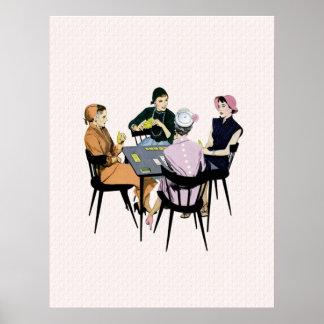 Juego de tarjeta retro de los años 50 póster