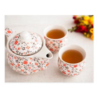 Juego de té de cerámica postales