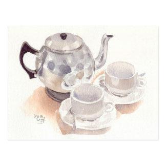 Juego de té de la postal de la bella arte, waterco