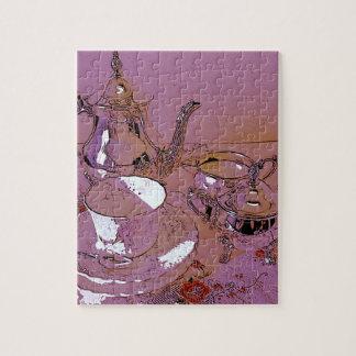 Juego de té rosado de la tarde puzzle con fotos
