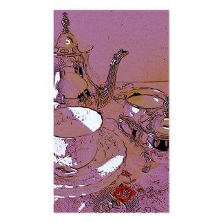 Juego de té rosado y de plata tarjetas de visita