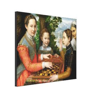 Juego del ajedrez de Sofonisba Anguissola - circa  Impresión En Lona Estirada