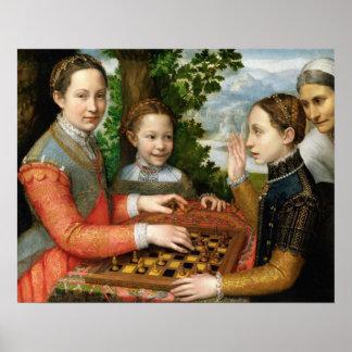 Juego del ajedrez de Sofonisba Anguissola - circa  Poster