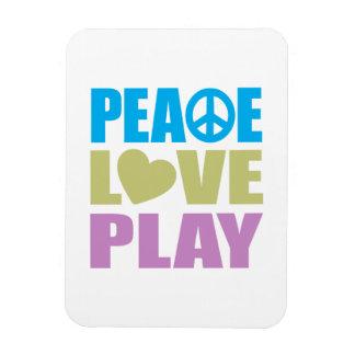 Juego del amor de la paz rectangle magnet