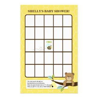 Juego del bingo de la fiesta de bienvenida al bebé papeleria