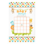 Juego del bingo del bebé del safari con los papeleria