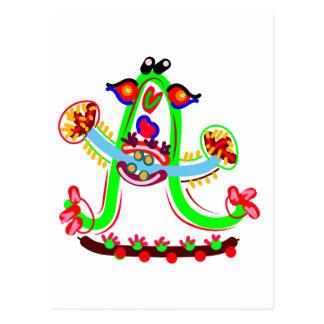 Juego del dibujo animado con el alfabeto A Postales