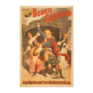 Juego del escocés de Bonnie Escocia de Sidney R. E Impresión En Tela