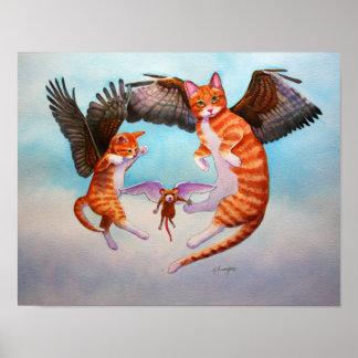 Juego del gato y del ratón del ángel póster