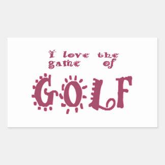 Juego del golf pegatina rectangular
