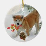 Juego del invierno del perrito de Akita Ornaments Para Arbol De Navidad