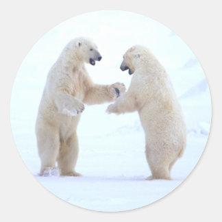 Juego del oso polar pegatinas redondas