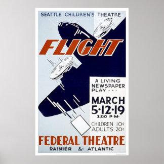 Juego del periódico del vuelo WPA 1940 Póster