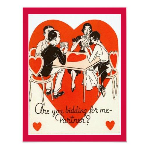 """Juego del puente del el día de San Valentín Invitación 4.25"""" X 5.5"""""""