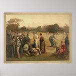 Juego del siglo XIX de los tenis sobre hierba de l Póster