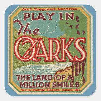 Juego en la tierra de OZARKS de millón de sonrisas Pegatina Cuadrada