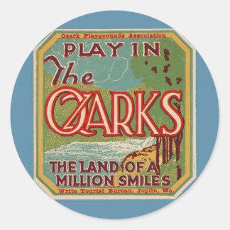 Juego en la tierra de OZARKS de millón de sonrisas Pegatina Redonda