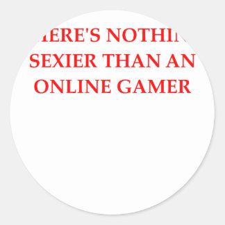 juego en línea pegatina redonda