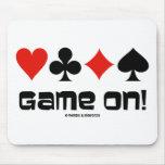 ¡Juego encendido! (Cuatro juegos de la tarjeta) Alfombrillas De Ratón