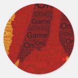 Juego encendido etiqueta redonda