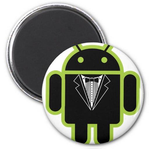 Juego encima del verde androide imán para frigorifico