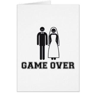 Juego encima, novia y novio, casando pares tarjeta de felicitación