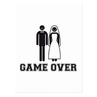 Juego encima, novia y novio, casando pares tarjeta postal